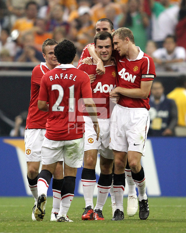 Darron Gibson #28 of Manchester United after scoring from a free kick during the 2010 MLS All-Star match against the MLS All-Stars at Reliant Stadium, on July 28 2010, in Houston, Texas .MANU won 5-2.