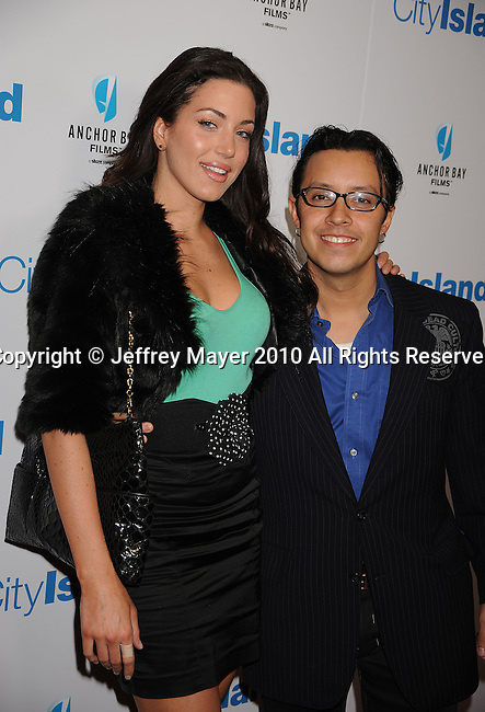 """LOS ANGELES, CA. - March 15: Efren Ramirez (R) and guest arrive at the Los Angeles premiere of """"City Island"""" held at Westside Pavillion Cinemas on March 15, 2010 in Los Angeles, California."""