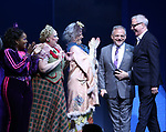 Marc Shaiman and Scott Wittman with cast during the Broadway Opening Performance Curtain Call of 'Charlie and the Chocolate Factory' at the Lunt-Fontanne Theatre on April 23, 2017 in New York City.