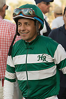 ARCADIA, CA   FEBRUARY 3 : #3 Accelerates jockey Victor Espinoza is all smiles after winning the San Pasqual Stakes (Grade ll) on February 3, 2018 at Santa Anita Park in Arcadia, CA.(Photo by Casey Phillips/ Eclipse Sortswire/ Getty Images)