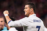 Cristiano Ronaldo of Real Madrid celebrates after scoring Real's 3rd goal during their La Liga match between Atletico de Madrid and Real Madrid at the Vicente Calderón Stadium on 19 November 2016 in Madrid, Spain. Photo by Diego Gonzalez Souto / Power Sport Images
