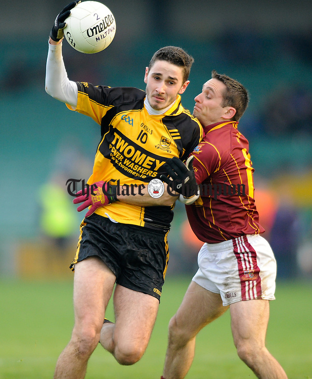 Conor O Sullivan of Clyda Rovers in action against Brian Curtin of Miltown during their Intermediate Club Munster Final at The Gaelic Grounds. Photograph by John Kelly.