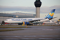 A Thomas Cook Airlines Airbus A330-243 Registration G-CHTZ at Manchester Airport on 11.2.19 arriving from Bridgetown Grantley Adams International Airport, Barbados.