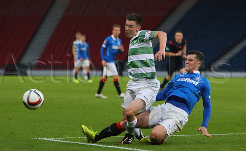 21.05.2015.  Glasgow, Scotland. Little Big Shot Scottish Youth Cup Final. Celtic versus Rangers.  Kieran Tierney is brought down in the box for a penalty to Celtic
