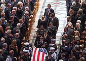 McCain family walks in the recessional ending the memorial service for the late United States Senator John S. McCain, III (Republican of Arizona) in the Washington National Cathedral in Washington, DC on Saturday, September 1, 2018.<br /> Credit: Ron Sachs / CNP<br /> <br /> <br /> (RESTRICTION: NO New York or New Jersey Newspapers or newspapers within a 75 mile radius of New York City)