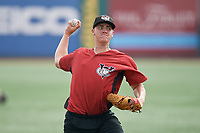 Tri-City ValleyCats pitcher Hunter Brown (45) during warmups before a NY-Penn League game against the Brooklyn Cyclones on August 17, 2019 at MCU Park in Brooklyn, New York.  The game was postponed due to inclement weather, Brooklyn defeated Tri-City 2-1 in the continuation of the game on August 18th.  (Mike Janes/Four Seam Images)