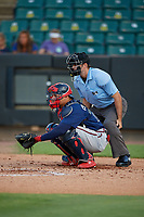 Umpire Ben Sonntag and Mississippi Braves catcher William Contreras (28) during a Southern League game against the Jackson Generals on July 23, 2019 at The Ballpark at Jackson in Jackson, Tennessee.  Mississippi defeated Jackson 1-0 in the second game of a doubleheader.  (Mike Janes/Four Seam Images)