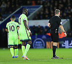 Manchester City's Sergio Aguero appears to throw his gloves at the feet of referee Craig Pawson as he is substituted<br /> <br /> Barclays Premier League- Leicester City vs Manchester City - King Power Stadium - England - 29th December 2015 - Picture - David Klein/Sportimage