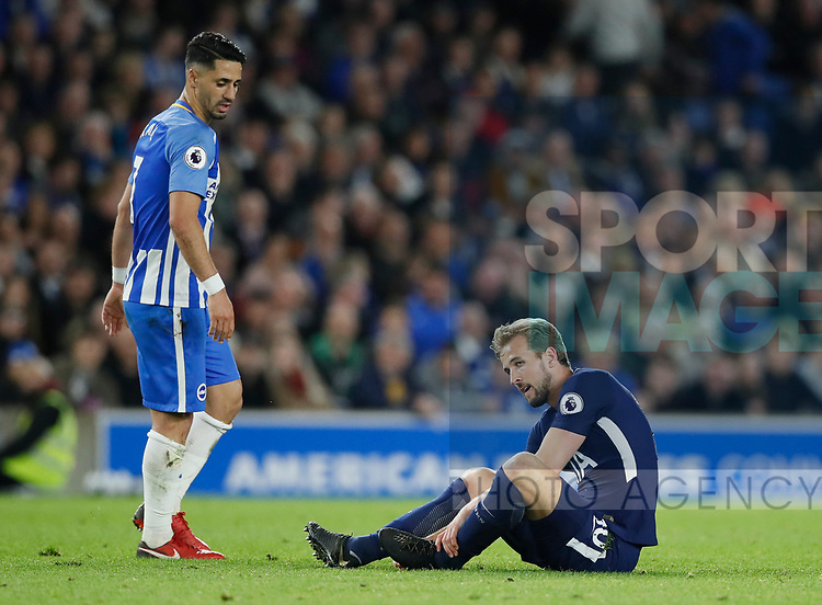 Harry Kane of Tottenham looks on in frustration after slipping over again during the premier league match at the Amex Stadium, London. Picture date 17th April 2018. Picture credit should read: David Klein/Sportimage