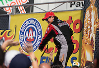 Nov 10, 2013; Pomona, CA, USA; NHRA top fuel dragster driver Billy Torrence during the Auto Club Finals at Auto Club Raceway at Pomona. Mandatory Credit: Mark J. Rebilas-