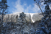 Arrow Slide, located on the side of Mount Hancock, from along the Hancock Loop Trail in the White Mountains of New Hampshire during the winter months. Mount Hancock is named after John Hancock, one of the Founding Fathers of the United States.