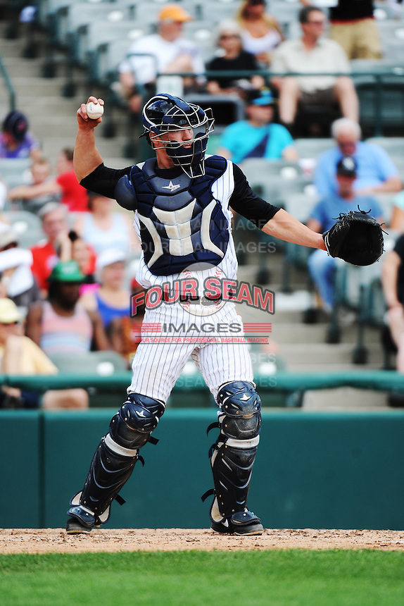 Trenton Thunder catcher Jeff Farnham (41) during game against the Portland Sea Dogs at ARM & HAMMER Park on June 23, 2013 in Trenton, NJ.  Portland defeated Trenton 11-0.  (Tomasso DeRosa/Four Seam Images)