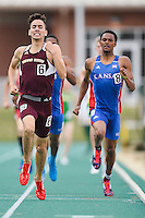 Alex Saucedo of Texas State and Matthew Anyiwo of Kansas compete in 800 Meter final during Baylor Invitational track meet, Friday, April 03, 2015 in Waco, Tex. (Mo Khursheed/TFV Media via AP Images)
