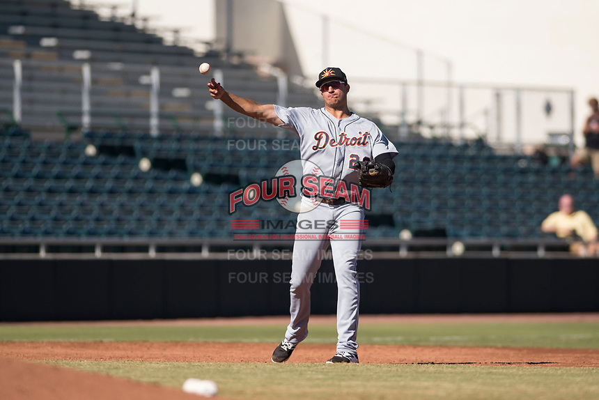 Mesa Solar Sox third baseman Daniel Pinero (26), of the Detroit Tigers organization, throws to first base during an Arizona Fall League game against the Scottsdale Scorpions at Scottsdale Stadium on November 2, 2018 in Scottsdale, Arizona. The shortened seven-inning game ended in a 1-1 tie. (Zachary Lucy/Four Seam Images)