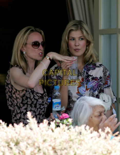 GUEST & ROSAMUND PIKE .Attending the Cartier International Polo 2008 at Guards Polo Club in Windsor, England, 27 July, 2008..half length drink water drinking.CAP/CAS.©Bob Cass/Capital Pictures