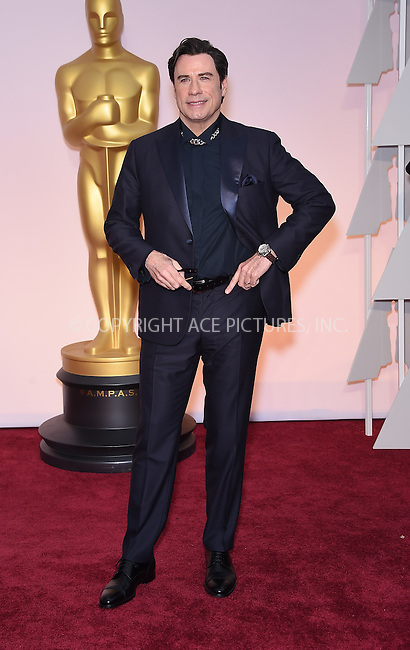 WWW.ACEPIXS.COM<br /> <br /> February 22 2015, Los Angeles Ca.<br /> <br /> Actor John Travolta arriving at the 87 th Annual Academy Awards at the Hollywood and Highland center on February 22 2015 in Hollywood CA.<br /> <br /> <br /> Please byline: Z15/ACE Pictures<br /> <br /> ACE Pictures, Inc.<br /> www.acepixs.com<br /> Email: info@acepixs.com<br /> Tel: 646 769 0430