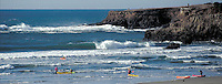 Ocean kayakers on Mendocino Bay, Northern California.  Photo CD scan from 35mm film. © John Birchard
