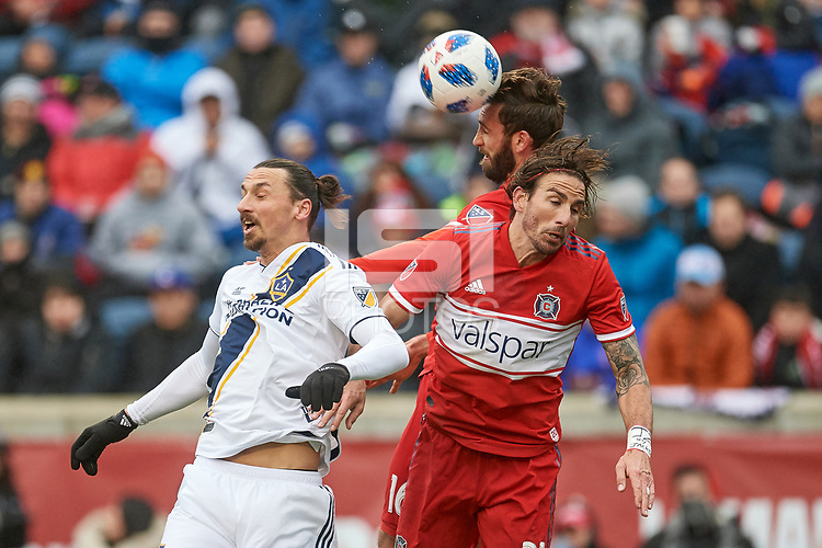 Bridgeview, IL - Saturday April 14, 2018: Zlatan Ibrahimovic, Alan Gordon, Jonathan Campbell during a regular season Major League Soccer (MLS) match between the Chicago Fire and the LA Galaxy at Toyota Park.  The LA Galaxy defeated the Chicago Fire by the score of 1-0.