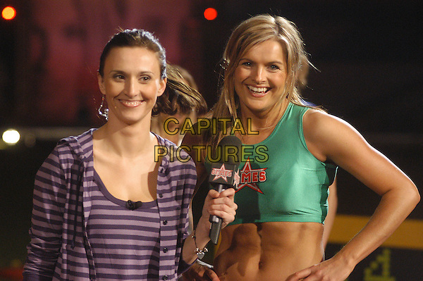 JANE MIDDLEMISS & KATY HILL .The Games - Channel 4.April 12th, 2004.half length green crop top tummy toned midriff.www.capitalpictures.com.sales@capitalpictures.com.©Capital Pictures