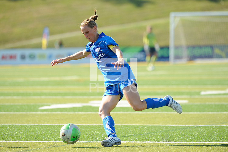Kristine Lilly (13) of the Boston Breakers. The Boston Breakers defeated the Philadelphia Independence 2-1 during a Women's Professional Soccer (WPS) match at John A. Farrell Stadium in West Chester, PA, on July 4, 2010.