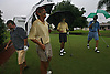 "Braving the rain and the mild winds From left; Vince Titus, Mike Hotz,  Lou Caleca and Ron Little, all from Ft. Myers Beach, kid around after teeing off at the San Carlos Golf Club in San Carlos Park during Tropical Storm Ernesto Wednesday.  ""We played through Hurricane Frances,"" said Hatz. "" We seem to play better in the rain."" Tropical Storm Ernesto dumped a couple of inches on the area but caused no real damage to Southwest Florida. Erik Kellar/Staff"