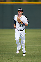 Lakeland Flying Tigers center fielder Mike Gerber (13) jogs to the dugout in between innings during a game against the Brevard County Manatees on April 20, 2016 at Henley Field in Lakeland, Florida.  Lakeland defeated Brevard County 5-2.  (Mike Janes/Four Seam Images)