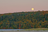 The Moon rises over the forest in Pictured Rocks National Lakeshore at Sand Beach, Alger County, Michigan