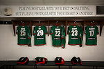 Glentoran 2 Cliftonville 1, 22/10/2016. The Oval, NIFL Premiership. Shirts and slogans in the home dressing room at The Oval, Belfast, pictured before Glentoran hosted city-rivals Cliftonville in an NIFL Premiership match. Glentoran, formed in 1892, have been based at The Oval since their formation and are historically one of Northern Ireland's 'big two' football clubs. They had an unprecendentally bad start to the 2016-17 league campaign, but came from behind to win this fixture 2-1, watched by a crowd of 1872. Photo by Colin McPherson.