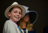 LOUISVILLE, KY - MAY 06: A young spectotor on Kentucky Derby Day at Churchill Downs on May 6, 2017 in Louisville, Kentucky. (Photo by Douglas DeFelice/Eclipse Sportswire/Getty Images)