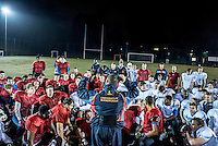UK. Birmingham.  29th  October 2015<br /> Coach Wayne Hill talks to Lions players during an outdoor training session on the University of Birmingham campus.<br /> Andrew Testa for the New York Times