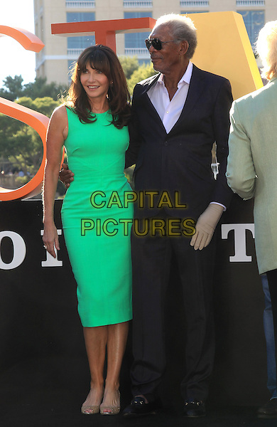 Mary Steenburgen, Morgan Freeman<br /> &quot;Last Vegas&quot; cast received the key to Vegas at the Bellagio Fountain, Las Vegas, NV, USA, 18th October 2013.<br /> full length green dress suit grey gray sunglasses <br /> CAP/ADM/MJT<br /> &copy; MJT/AdMedia/Capital Pictures