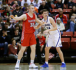 February 28, 2020; Yankton at St. Thomas More High School Basketball -- Matthew Mors #32 of Yankton works for position as Ryder Kirsch #24 of St. Thomas More defends during their game Friday evening at Barnett Arena in Rapid City, S.D.(Photo by Richard Carlson/Inertia)