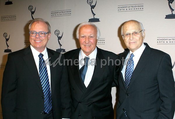 John Shaffner,Robert Loggins and Norman Lear arrive at the The Academy of Television Arts Sciences Hall Fame Ceremony