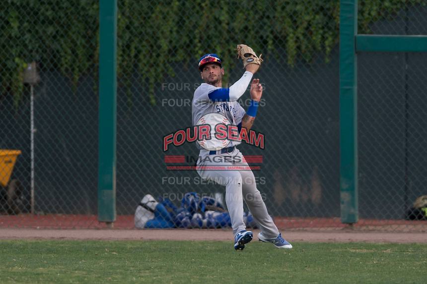 Stockton Ports right fielder Luis Barrera (15) throws a ball to the infield during a California League game against the Visalia Rawhide at Visalia Recreation Ballpark on May 8, 2018 in Visalia, California. Stockton defeated Visalia 6-2. (Zachary Lucy/Four Seam Images)