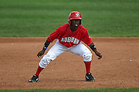 Auburn Doubledays outfielder Telmito Agustin (3) leads off first during a game against the Batavia Muckdogs on September 7, 2015 at Falcon Park in Auburn, New York.  Auburn defeated Batavia 11-10 in ten innings.  (Mike Janes/Four Seam Images)