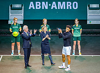 Rotterdam, The Netherlands, 16 Februari 2020, ABNAMRO World Tennis Tournament, Ahoy,<br /> Mens Single Final:  Prizegiving: ltr: the CEO of the ABNAMRO Bank Kees van Dijkhuizen, director Ahoy Jolanda Jansen runner up Felix Auger-Aliassime (CAN),<br /> Photo: www.tennisimages.com