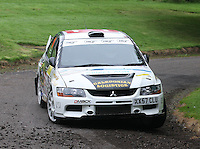 Quentin Milne / Martin Forrest near Junction 10 on the Gleaner Oil & Gas Cooper Park Special Stage 2 of the Gleaner Oil & Gas Speyside Stages Rally 2012, Round 6 of the RAC MSA Scotish Rally Championship which was organised by The 63 Car Club (Elgin) Ltd and based in Elgin on 4.8.12..........