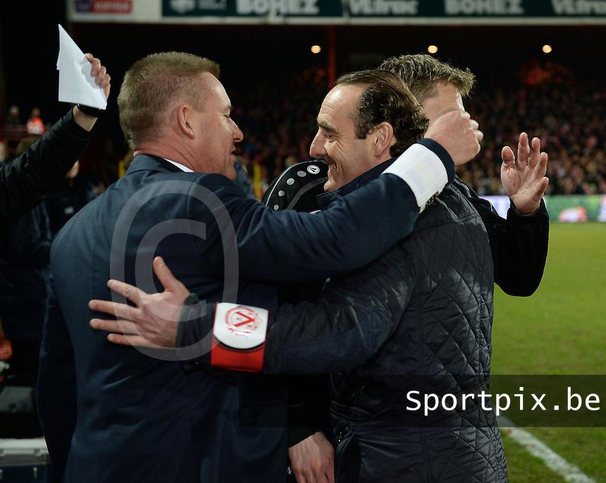 KV Kortrijk - Cercle Brugge : Kortrijk trainer Yves Vanderhaeghe viert de kwalificatie voor play off 1 <br /> foto VDB / BART VANDENBROUCKE
