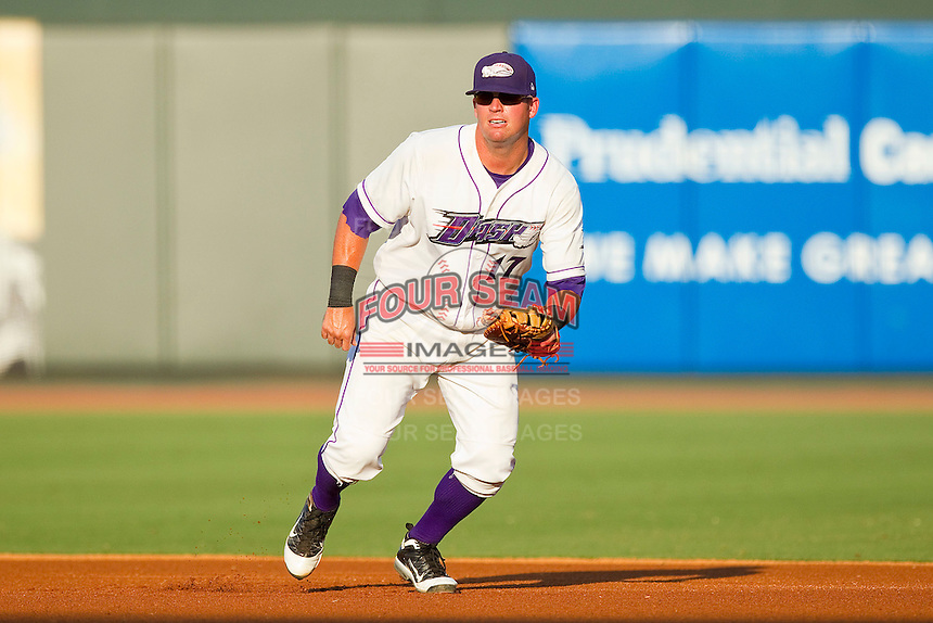 First baseman Andy Wilkins #17 of the Winston-Salem Dash on defense against the Lynchburg Hillcats at BB&T Ballpark on August 15, 2011 in Winston-Salem, North Carolina.  The Dash defeated the Hillcats 10-0 in the completion of a game suspended on June 28, 2011.   Brian Westerholt / Four Seam Images