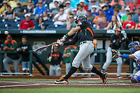David Thompson (8) of the Miami Hurricanes bats during a game between the Miami Hurricanes and Florida Gators at TD Ameritrade Park on June 13, 2015 in Omaha, Nebraska. (Brace Hemmelgarn/Four Seam Images)
