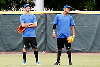 19 September 2012: France Matthieu Brelle-Andrade is seen next to Andy Paz prior to Team France friendly game won 6-3 against Palm Beach State College, during the 2012 World Baseball Classic Qualifier round, in Lake Worth, Florida, USA.