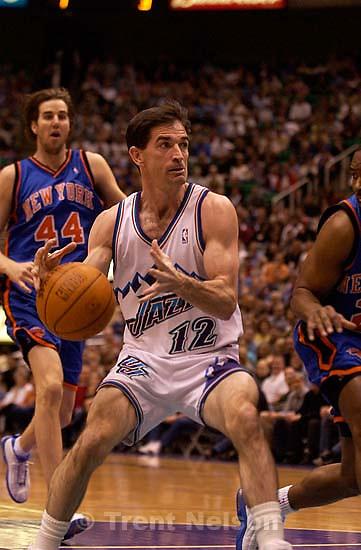 John Stockton. Utah Jazz vs. New York Knicks Friday night at the Delta Center.; 04.04.2003, 7:53:12 PM<br />