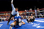 Uncasville, CT - June 07, 2008:  As referee Eddie Claudio jumps in to stop the fight between Paul Williams (black trunk) and Carlos Quintana  during their WBO Welterweight Championship fight at the Mohegan Sun Casino, the three get entangled and Williams loses his balance. Williams demolished Quintana in 1 minute 43 seconds in the first round, winning by ko and recapturing the championship belt that he had lost to Quintana earlier in the year.