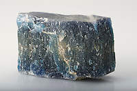 Fibrous Halite from a salt deposit, Mulhouse, Haut-Rhin, Alsace, France. The blue color is thought to be attributable to extra sodium ions whilst forming in the vein-filling fibrous habit found at Mulhouse.