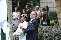 RIO DE JANEIRO, RJ, 15 AGOSTO 2012 -  HASTEAMENTO DA BANDEIRA OLIMPICA NO PALACIO DA CIDADE-  Carlos Arthur Nuzman, Presidente do Comite Olimpico Brasileiro participa do hasteamento da Bandeira Olimpica,nesta tarde de quarta feira, 15 de agotso,no Palacio da Cidade, em Botafogo, zona sul do Rio de Janeiro.(FOTO:MARCELO FONSECA / BRAZIL PHOTO PRESS).