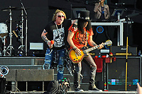 DERBY, ENGLAND - JUNE 9: Axl Rose and Slash of 'Guns N' Roses' performing at Download Festival, Donington Park on June 9, 2018 in Derby<br /> CAP/MAR<br /> &copy;MAR/Capital Pictures