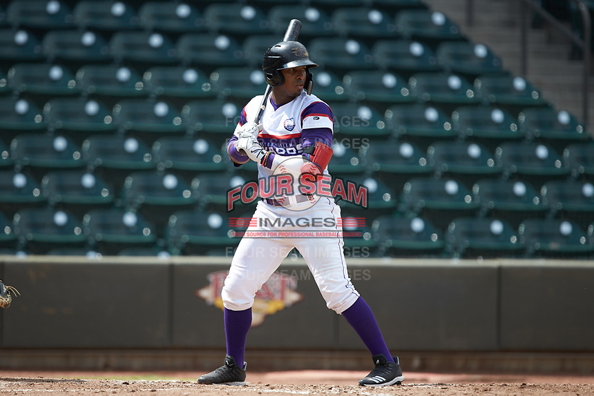 Yeyson Yrizarri (2) of the Winston-Salem Rayados at bat against the Potomac Nationals at BB&T Ballpark on August 12, 2018 in Winston-Salem, North Carolina. The Rayados defeated the Nationals 6-3. (Brian Westerholt/Four Seam Images)