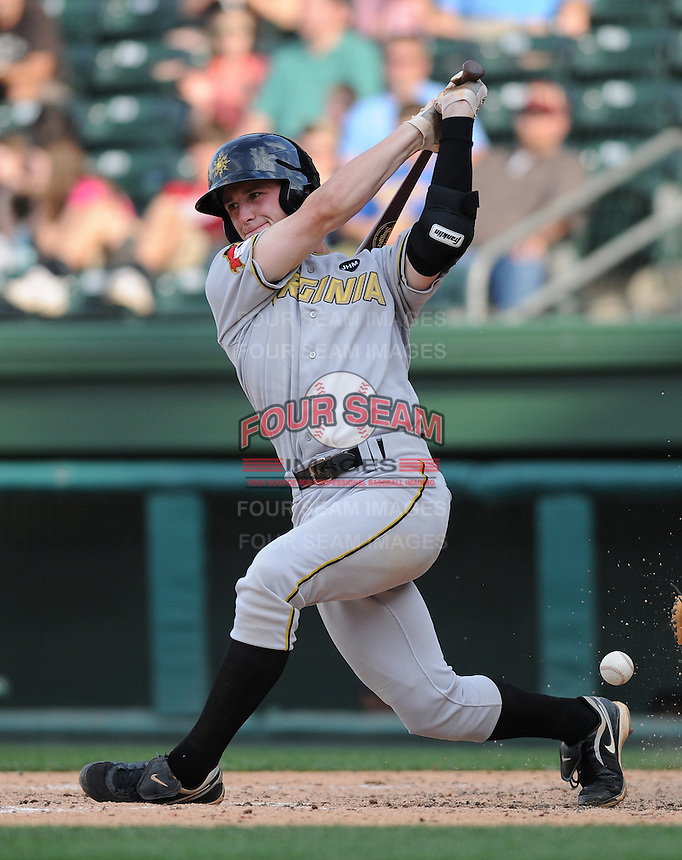 Infielder Jarek Cunningham (7) of the West Virginia Power, Class A affiliate of the Pittsburgh Pirates, at a game against the Greenville Drive May 2, 2010, at Fluor Field at the West End in Greenville, S.C. Photo by: Tom Priddy/Four Seam Images