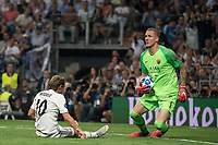 Uefa Champions League football match Real Madrid vs AS Roma at the Santiago Bernabeu stadium in Madrid on September 19, 2018.<br /> <br /> Luca Modric; Robin Olsen