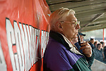 Sheffield FC 1 Hallam 1, 14/10/2006. Coach and Horses Stadium, The worlds oldest derby. Hallam scored a last minute equaliser. An old man standing in front of a banner advertising McDonalds as the FA's community partner. Photo by Paul Thompson.
